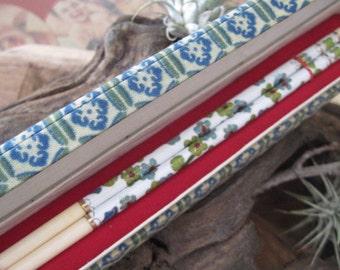 Vintage Pair of Floral Cloisonne Chopsticks