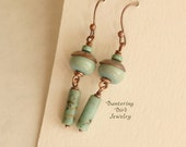 African Turquoise Earrings, Jasper Tube Beads and Mint Green Lampwork Glass and Hand Stamped Copper Caps with Patina, Artisan Copper Jewelry