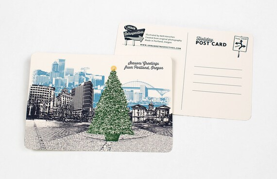 Holiday Portland, Oregon Themed Postcards - Christmas Tree in Pioneers Square - Single or Set