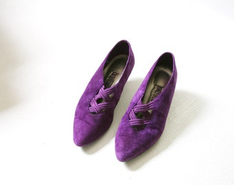 Sale Vintage Purple Suede Witchy Goth Shoes US Womens Size 9, UK Size 7, EUR Size 39 - 40