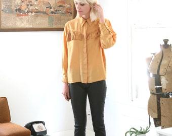 Vintage Fringe Silk Blouse Golden Yellow Large