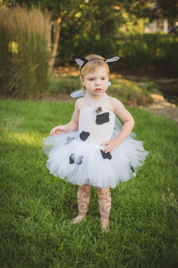 Girls Cow Tutu Dress Costume Black White Print Halloween Outfit Baby Girl Newborn 3 6 9 12 18 24 Months 3T 4T 5 6 7 8 10 12 Toddler
