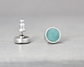 Turquoise Earrings, Stud Earrings Turquoise,  Silver Turquoise Earrings, Turquoise Jewelry,  Silver Earrings, Pewter Earrings