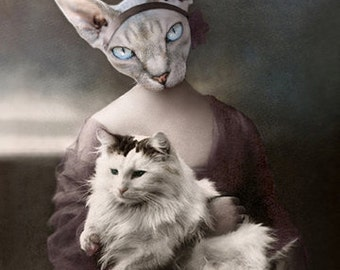 Olwen, Cat Print, Anthropomorphic Cat, Sphynx, Whimsical Art, Photo Collage, Steampunk Art, Gift for cat lover, Unique Wall Decor, Cat Cards