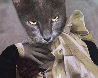 Madam Gray, Cat Print, Gothic Cat, Creepy Art, Anthropomorphic Cat, Altered Photo, Halloween Cat Print, Photo Collage, Steam Punk Print