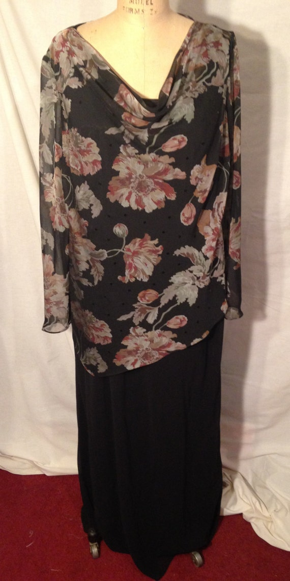 Vintage Studio 1 Two Piece Black Dress and Floral Over Blouse NWT Size 18