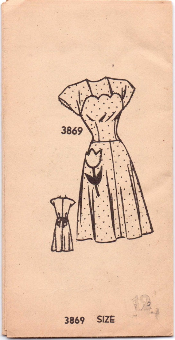 American Weekly Mail Order Sewing Pattern 3869 Vintage 50s Misses Dress Size 12