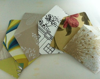 Set of 5 Handmade Decorative Envelopes, Patterned Envelopes, note cards - WITH handmade paper inside
