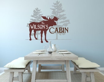 Personalized Cabin Decal, Family Cabin Wall Decal, Cabin Decal, Lodge Decor, Cabin Decor, Moose Decal, Hunting Decal, KAL - WD0183