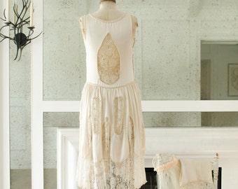Vintage Art Deco / Hand Made Silk Lace Wedding Dress Gown Flapper Era Gatsby - 1920's