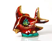 Vintage Vallauris French pottery fish ornament lamp 1950s, majolica colourful kitsch seaside home decor, retro night light table tv lamp