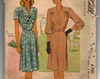 """1940's McCall One-piece Dress Pattern with Bow Detail - Bust 34"""" - No. 6395"""