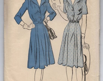 """1940's Advance One-Piece Shirtwaist Dress with 3/4 or Short Sleeves - Bust 34"""" - No. 2894"""