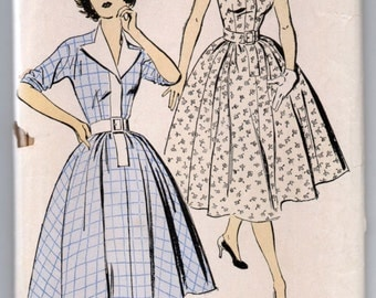 "1950's One Piece Dress with Wide Collar and Cap Sleeve or Three Quarter Pattern by New York - Bust 36"" - No. 1462"