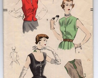 """1950's Fitted Blouse with Scoop Neckline with or without Sleeves by Vogue - Bust 34"""" - No. 7168"""