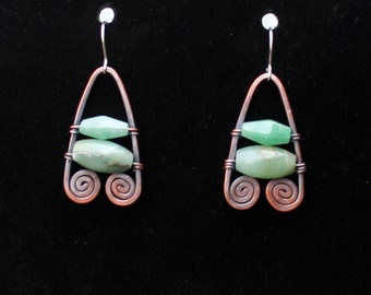 Aventurine, jade, and copper earrings