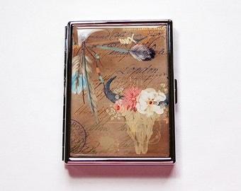 Tribal Cigarette Case, Slim Cigarette Case, Metal Wallet, native design, skull, dreamcatcher, feather, Tribal, brown, arrow (5950)