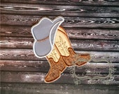 Cowboy hat with brown and tan boots- western fabric applique- farm boy- iron on patch-ready to ship pre-made