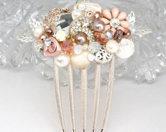 Rose Gold Bridal Comb-Petite Blush Hairpiece- Bridal Hair Accessories- Wedding Hair Accessories- Dusty Pink Bridal Comb- Rose Gold Hair Comb
