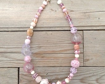 Shades of pink handblown glass necklace