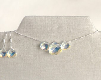 Swarovski Crystal Set, Bridesmaid Gift, Necklace & Earrings Set, Teardrop Earrings, Teardrop Necklace - Maid of Honor - Gift for Her