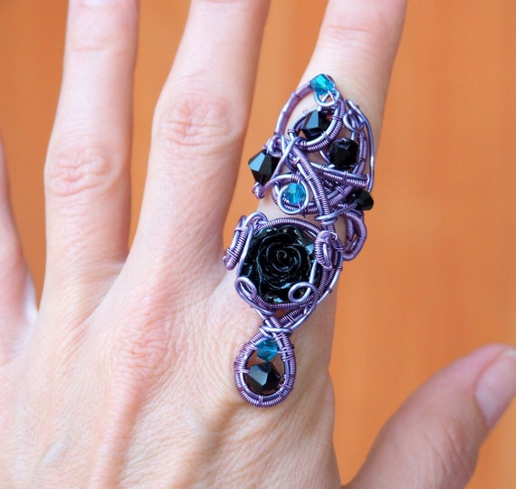 Black rose ring Gothic jewelry Wire wrapped Statement big adjustable gift for her Girlfriend Purple Goth Christmas gift anniversary ooak