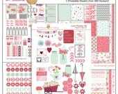 Love Printable Planner Kit in Pink & Green February Valentine, Roses, Hearts, Flowers, Mason Jars,  5 PDF Bible Journaling  love Icons
