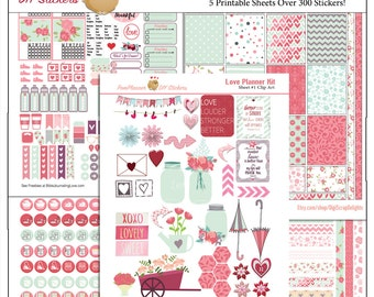 Planner Kit! Love Printable Planner Stickers Kit w April Shower Umbrellas, May Flowers in Mason Jars  300 Stickers Hearts Flowers