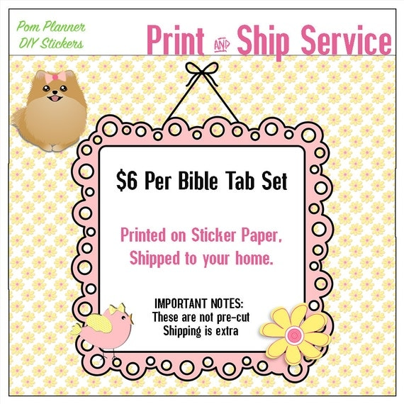 Bible tabs print and ship
