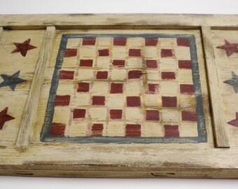 Patriotic Game Board, Primitive Americana, Country Farmhouse Decor