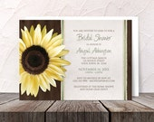 Sunflower Bridal Shower Invitations - Country Sunflower Wood Brown Green