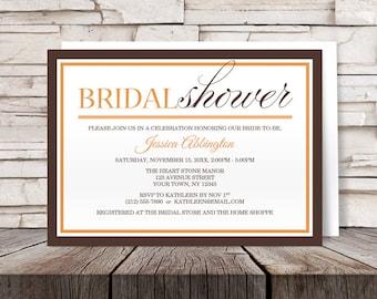 Orange Brown Bridal Shower Invitations - Modern Autumn design - Printed Invitations