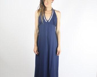 Vintage Maxi Dress, 70s Cotton Halter neck Maxi, Nautical Navy Blue RicRac Summer Beach Boho, Medium