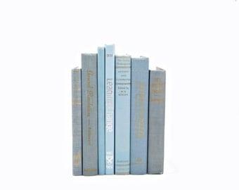 Pastel Blue BOoks, Wedding Centerpiece, Decorative Books, Baby blue Book Set, Instant Library, Book Collection, Interior Design,  Book Decor