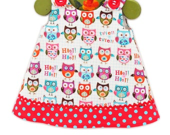 Rainbow Baby Owls - Owls Aline Dress - Children Clothing - Summer - Baby Girls Clothing - Vacation Outfits - KK Children Designs - 3M to 5T