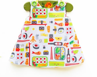Sushi Dress - Baby Sushi Aline - Dinning Out Dress - Girls Dress - Summer Girls Outfit - Japanese Sushi - Children Dress - Toddler Birthday