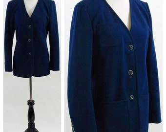 Vintage 1970's Blazer - Navy Blue Long Sleeve light weight Button up Jacket - Suit Jacket - Size Medium - Size 10
