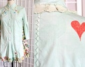 Upcycled Artsy Hand Dyed Shirt Tunic Top Hearts Recycled Clothing Size Extra Small XS