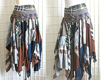 Upcycled Skirt Plaid Grungy Long Blue Brown Grey Recycled Clothing Size Medium Wearable Art