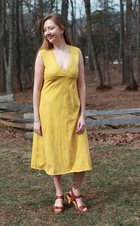 Betty Sundress, Organic Cotton Jersey Summer Dress, Eco Friendly V-Neck Dress