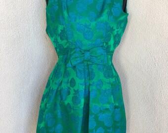 Vintage retro evening mini dress green blues floral print  bow pleats  sz XS