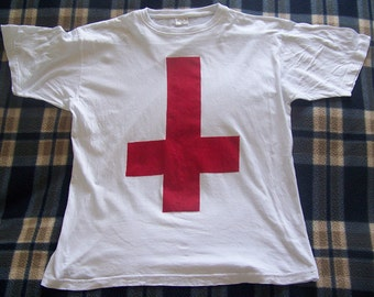 NEW Men's Inverted Cross White T-Shirt Size EXTRA LARGE Only Red Ink