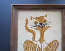 Framed Cat Embroidery // Vintage Mid Century Siamese Cat Embroidered Wall Hanging Art Signed Mom 1971 Amber Brown Cats Pets Home Decor