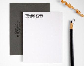 Modern Letterpress Thank You Cards - Unique Bold Wedding Bulk Set - Flat Notes