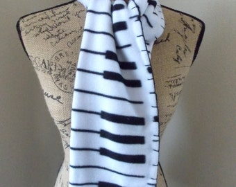 Fleece Piano and Music Scarf, music teacher gift, music staff printed, black and white, piano keys, treble clef, black blanket stitched