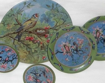 Vintage Tin Lithograph Dishes for Doll or Child, Birds Design, Ohio Art