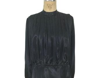 vintage 1980's SONIA RYKIEL satin blouse / black / pleated blouse / blouson blouse / women's vintage blouse / tag size 40