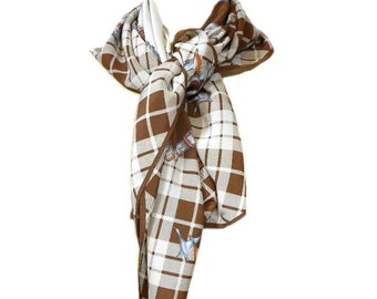 vintage 1980s marshland duck scarf / silk / plaid novelty print / head scarf / neck scarf / vintage scarf