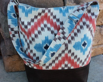 Crossbody Ikat Tribal Print Canvas Bucket Bag Tote Purse with Dark Brown Faux Leather Bottom