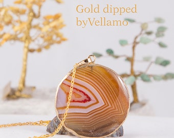 Gold dipped orange brown banded onyx agate stone pendant, large natural stone talisman, gold plated bohemian jewelry, boho stone pendant